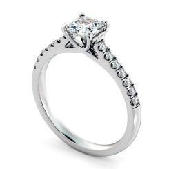 HRASD1166 Asscher Shoulder Diamond Ring - white