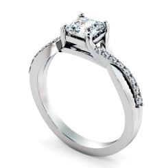 HRASD1168 Asscher Shoulder Diamond Ring - white