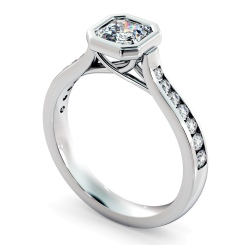 HRASD1172 Bezel Crossover Setting Asscher cut Shoulder Diamond - white