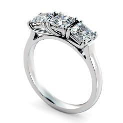 HRATR1176 3 Asscher Diamonds Trilogy Ring - white