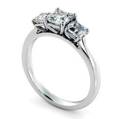 HRATR1178 Asscher 3 Stone Diamond Ring - white