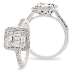 HRBCL925 Round & Baguette cut Halo Cluster Vintage Diamond Ring - white