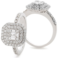 HRBCL926 Round & Baguette cut Double Halo Cluster Diamond Ring - white
