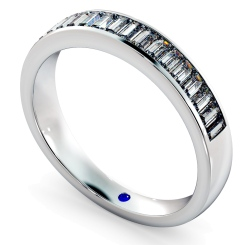 HRBHE1007 Classic Baguette Half Eternity Diamond Ring - white