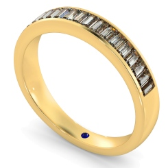 Classic Baguette Half Eternity Diamond Ring - yellow