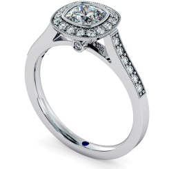 HRCSD707 Legacy style Milgrain Cushion cut Halo Diamond Ring - white