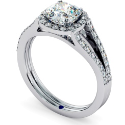 HRCSD708 Split Double Band Cushion cut Halo Diamond Ring - white