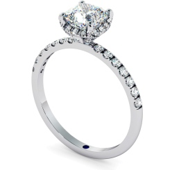 HRCSD709 Studded Prongs Cushion cut Halo Diamond Ring - white