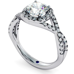 HRCSD711 Crossover Swirls Cushion cut Halo Diamond Ring - white