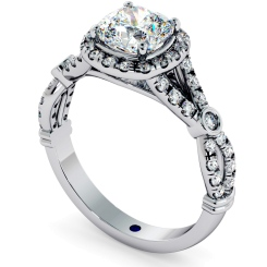 HRCSD713 Designer Cushion cut Halo Diamond Ring - white