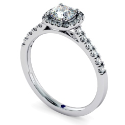 HRCSD739 Cushion Halo Cushion cut Diamond Engagement Ring - white