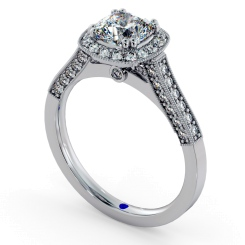 HRCSD742 Studded Designer Cushion cut Halo Diamond Engagement Ring - white