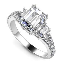 HRE1597 2.30CT VVS1/G EMERALD DIAMOND VINTAGE RING - white