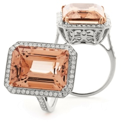 HREGMG1138 Designer Emerald Shape Morganite & Diamond Single Halo Ring - white