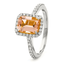 HREGMG1142 Emerald Shape Morganite & Diamond Single Halo Ring - white