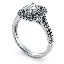 HRESD813 Emerald Halo Diamond Ring - white