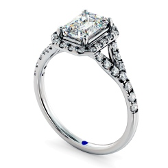 HRESD831 Emerald Halo Diamond Ring - white