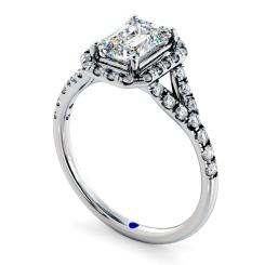 HRESD831 Emerald Halo Diamond Ring - white