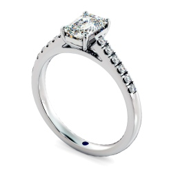 HRESD854 Emerald Shoulder Diamond Ring - white