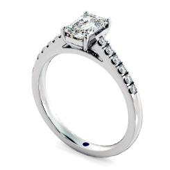 HRESD854 Emerald Shoulder Diamond Ring - white