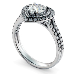 HRHSD818 Heart Halo Diamond Ring - white