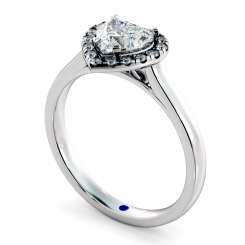 HRHSD847 Heart Halo Diamond Ring - white