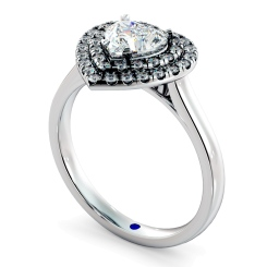 HRHSD848 Heart Halo Diamond Ring - white
