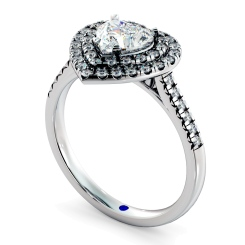 HRHSD849 Heart Halo Diamond Ring - white