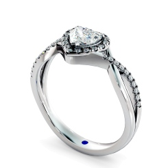 HRHSD850 Heart Halo Diamond Ring - white