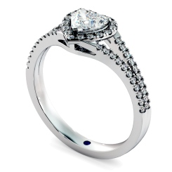 HRHSD851 Heart Halo Diamond Ring - white
