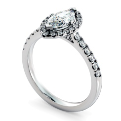 HRMSD814 Marquise Halo Diamond Ring - white