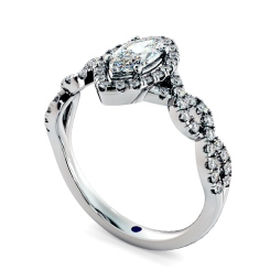 HRMSD845 Marquise Halo Diamond Ring - white