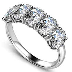 HRO1583 0.50CT VS2/F OVAL DIAMOND 5 STONE RING - white