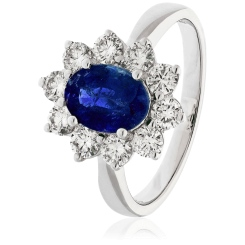 HROGBS1023 Blue Sapphire & Diamond Halo Ring - white