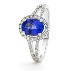 HROGBS1038 Split Shank Blue Sapphire & Diamond Halo Ring - white