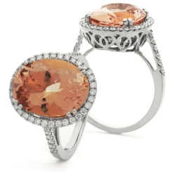 HROGMG1131 Morganite & Diamond Single Halo Ring - white