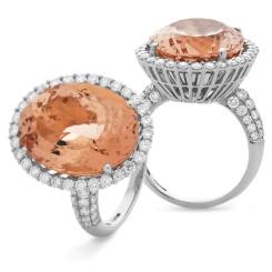 HROGMG1133 Designer Pave Style Morganite & Diamond Single Halo Ring - white