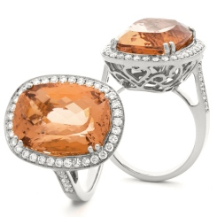 HROGMG1136 Designer Oval Shape Morganite & Diamond Single Halo Ring - white