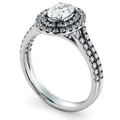 HROSD817 Oval Halo Diamond Ring - white