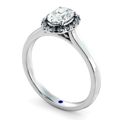 HROSD832 Oval Halo Diamond Ring - white