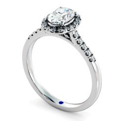 HROSD833 Oval Halo Diamond Ring - white