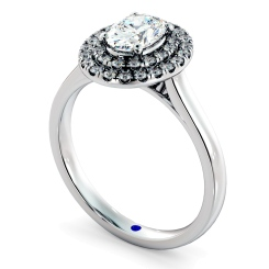 HROSD834 Oval Halo Diamond Ring - white