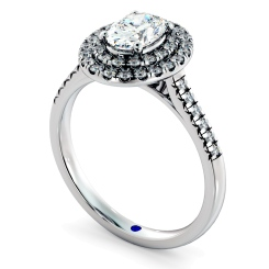 HROSD835 Oval Halo Diamond Ring - white