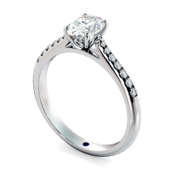 HROSD867 Oval Shoulder Diamond Ring - white