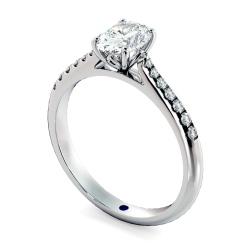 HROSD867 Oval Shoulder Diamond Ring - white