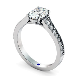 HROSD869 Oval Shoulder Diamond Ring - white