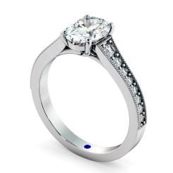 HROSD869 Oval Shoulder Diamond Ring - white