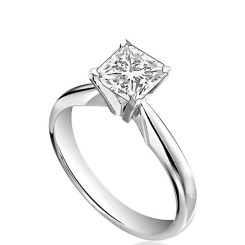 HRP1573 1.00CT SI2/F PRINCESS DIAMOND SOLITAIRE RING - white