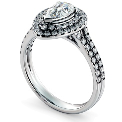 HRPESD816 Pear Halo Diamond Ring - white