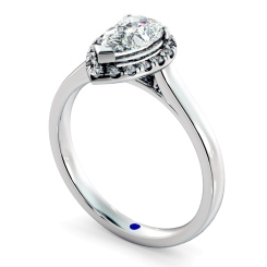 HRPESD837 Pear Halo Diamond Ring - white